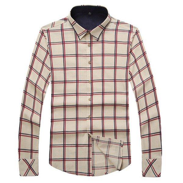 Men's Fashion Plaid Business Casual Large Size Long-sleeved Slim Cotton Shirt