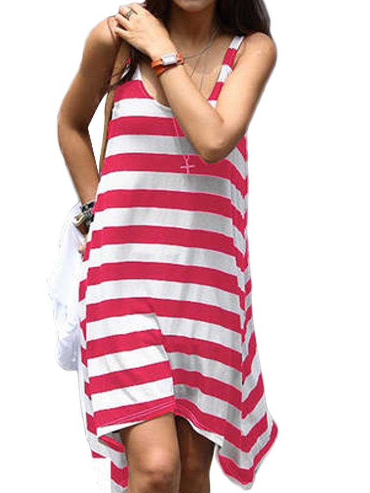 Women Sleeveless O Neck Stripe Beach Irregular Hem Summer Sundress