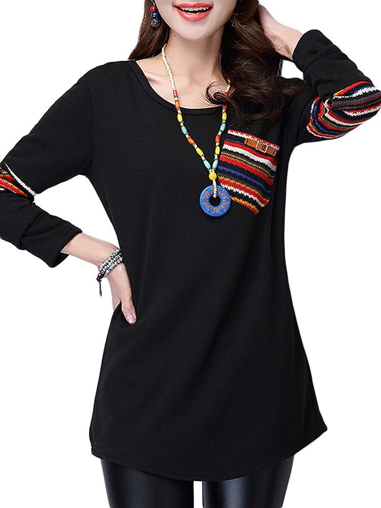 Этнические Женщины Карманный Геометрическая Печатный Лоскутная с длинным рукавом футболки