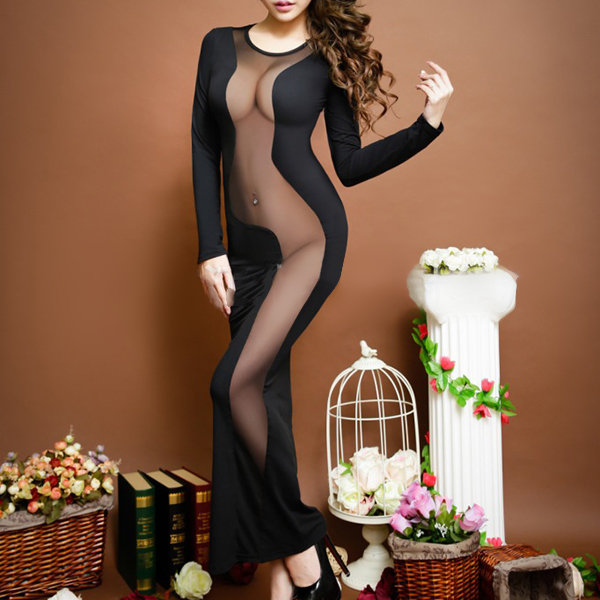 Sexy Milk Silk Hollow Long Dress Transparent Breathable Nightgown For Woman