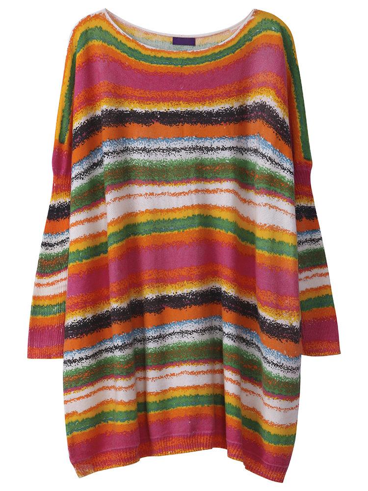 Женщины нашивки с длинным рукавом Печатный Knit Сыпучие свитер платье