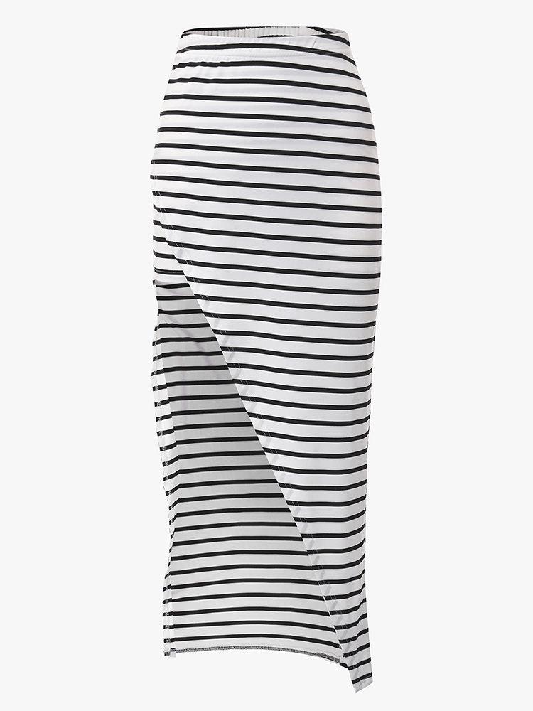 Sexy Stripe Elastic Waist Split Beach Long Skirt For Women