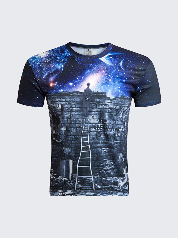 Summer Unique Round Neck Starry Sky Abstract Printing Short Sleeve T-shirts For Men
