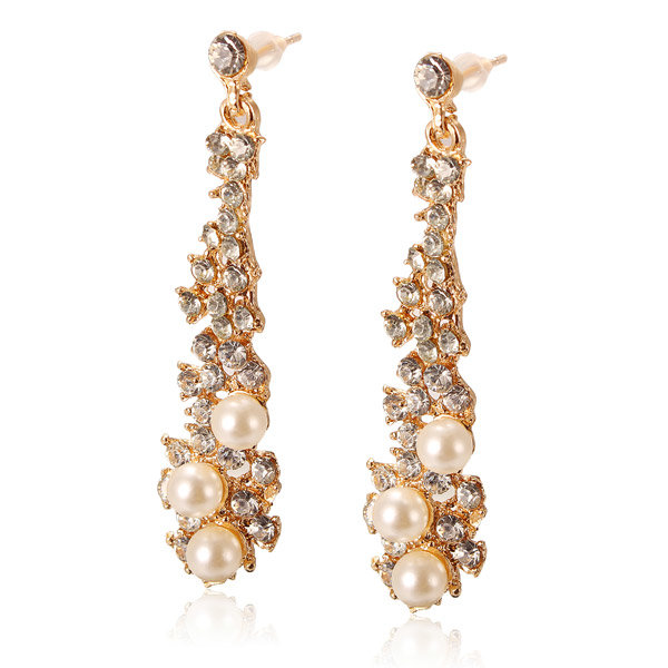 Pearl Crystal Chandelier Dangle Stud Earrings