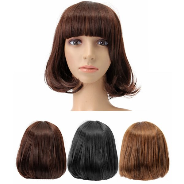 Короткие Волнистые Вьющиеся Бэнгс парик волос Косплей Костюм синтетические парики Симпатичные высокой температуры