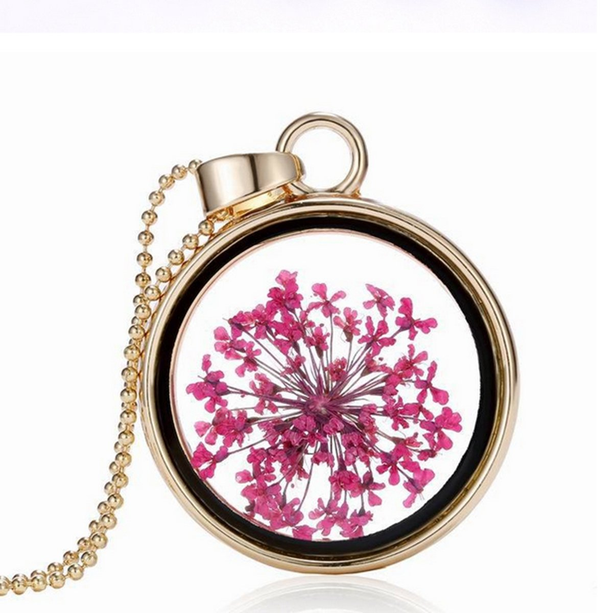 Round Glass Dry Flower Alloy Chain Necklace