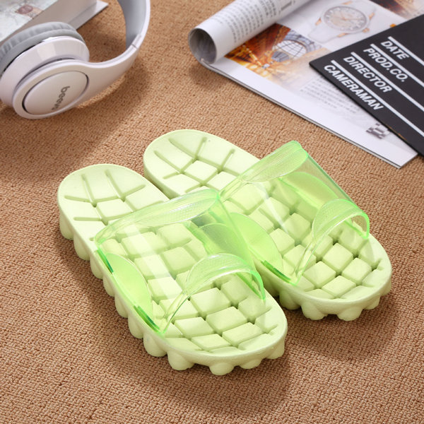 Big Size Transparent Open Toe Plaid Check Slip On Flat Slippers