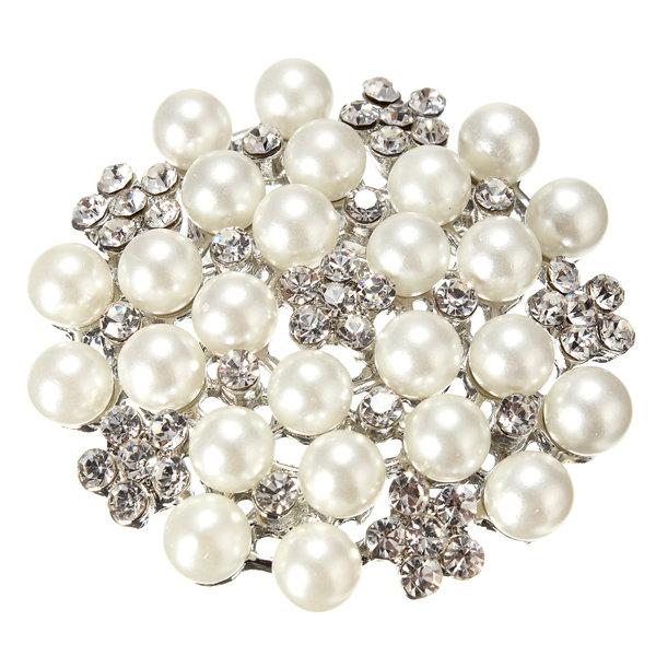 Crystal Pearl Snowflake Pin Brooch