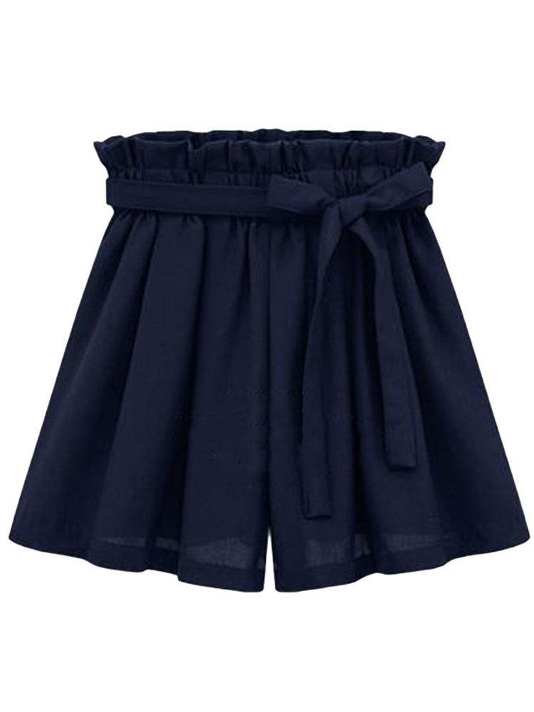 Повседневная Плюс Размер Женщины эластичный пояс лук плиссированные шорты