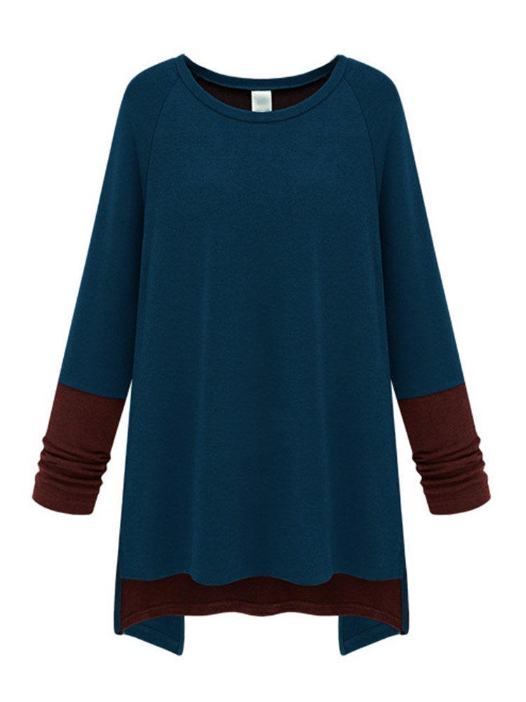 Women Long Sleeve O Neck Contrast Color Irregular T-shirt