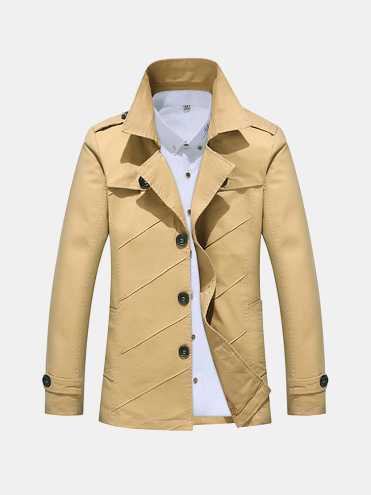 Spring Fall Epaulets Single-breasted Jacket Washed Cotton Suit Collar Outwear for Men