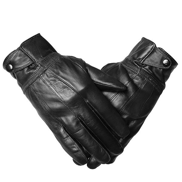 Male Warm Cycling Driving Outdoor Gloves Oblique Buckles Sheepskin Leather Mittens