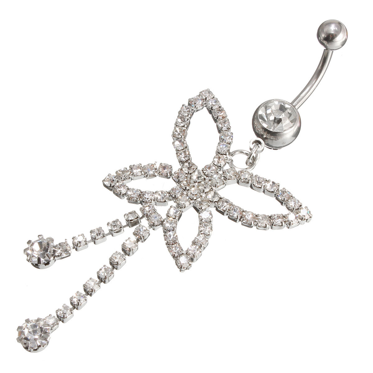 Crystal Butterfly Tassels Belly Navel Bar Ring