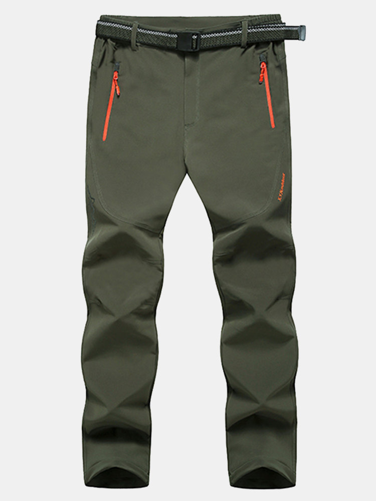 Outdoor Soft Shell Thick Waterproof Quick-Dry Breathable Climbing Sport Pants For Men