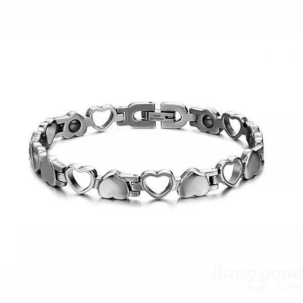 Hollow Hematite Magnetic Stone Titanium Steel Couple Bracelet