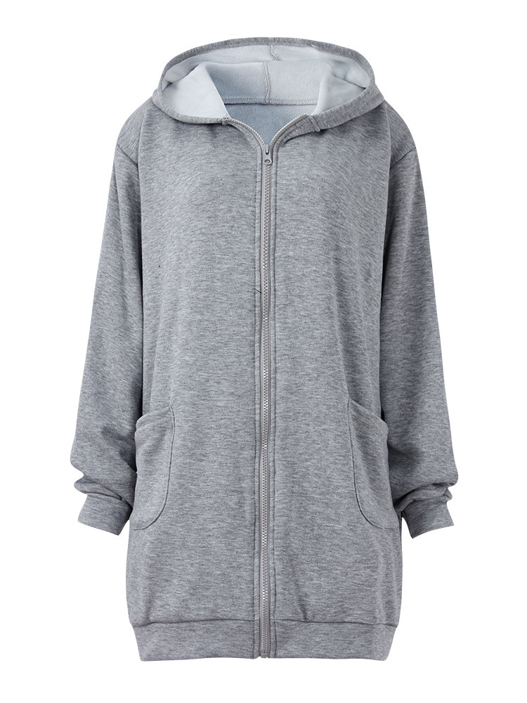 Casual Pure Color Long Sleeve Hooded Zipper Thicken Cotton Coat For Women