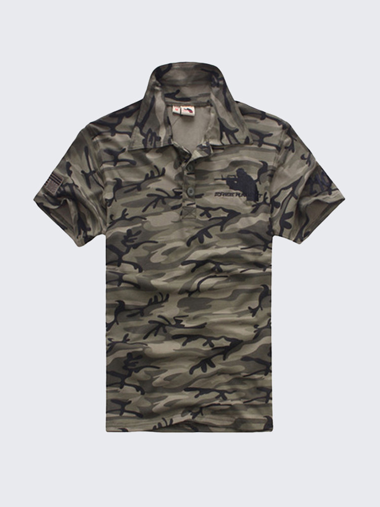 Men's Outdoor Army Camouflage Cotton Polo Short-sleeved T-shirt