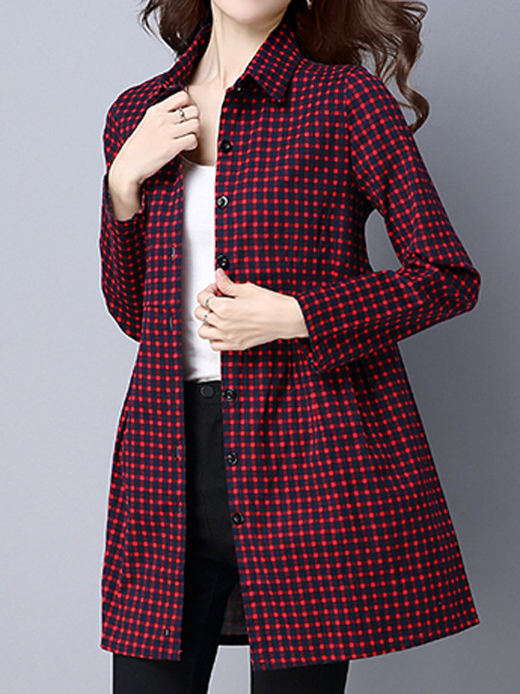 Printed Casual Lattice Women Slimming Long Sleeve Cotton Dress