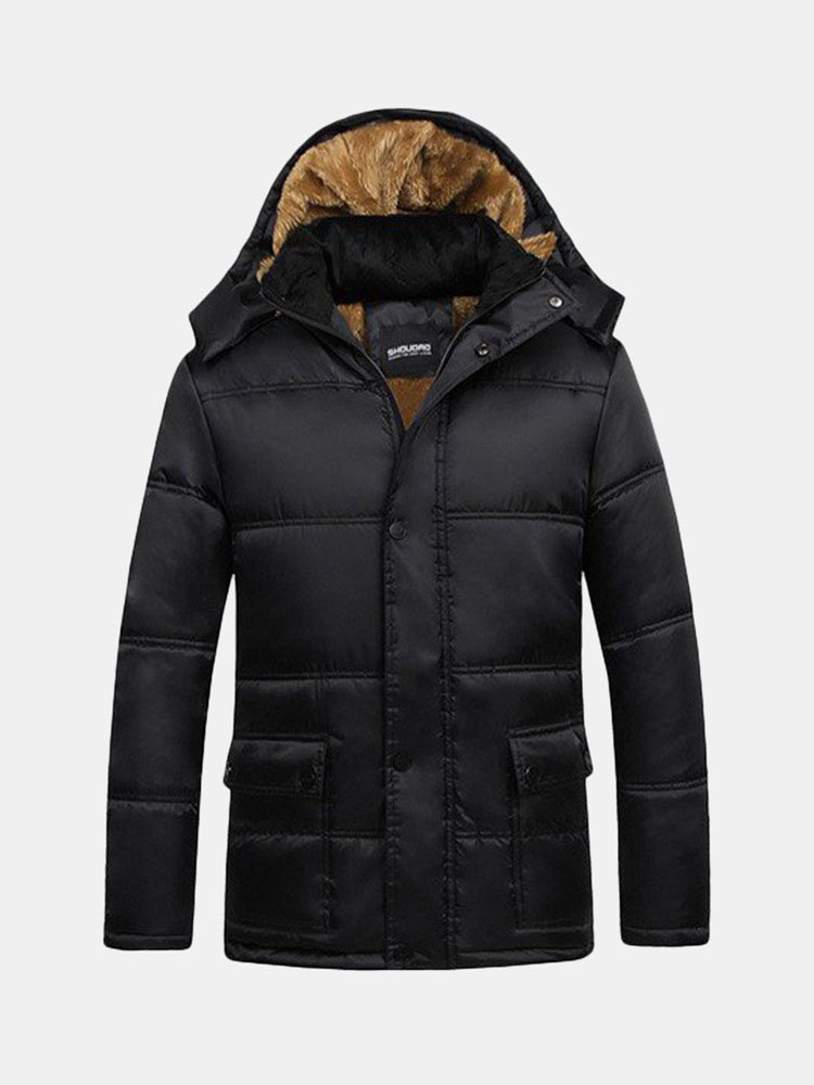 Men's Winter Casual Jacket Cotton Thick Warm Hooded Black Trench Coat