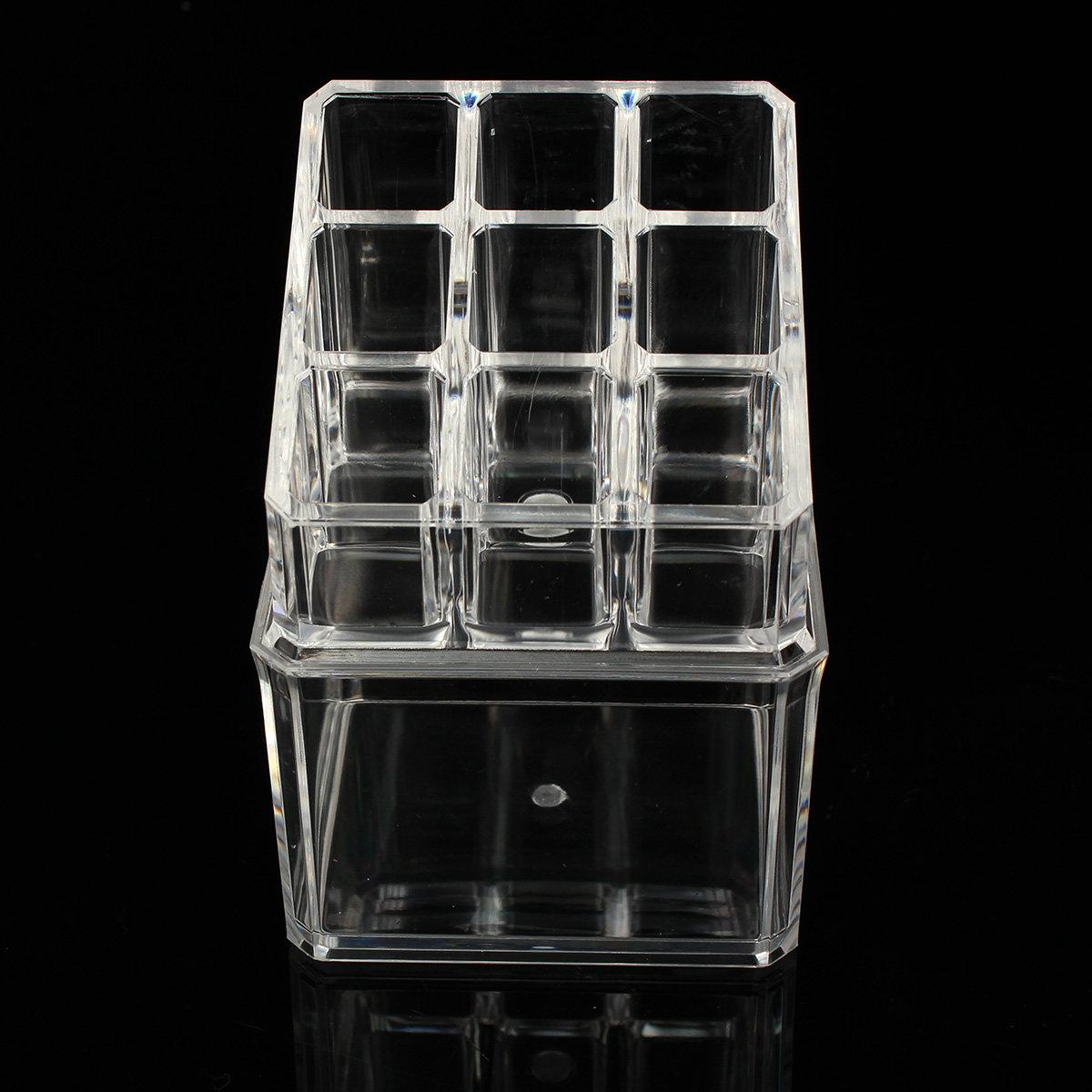 2 Tiers Acrylic Clear Cosmetic Storage Organizer Nail Polish Brush Jewelry Display Case