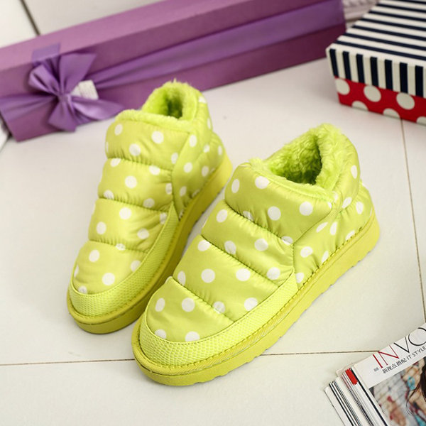 Waterproof Ball Dot Cloth Cute Slip On Warm Shoes