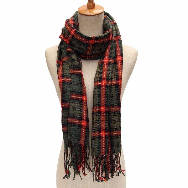 Women Fringed Tassel Shawl Imitation Cashmere Plaid Checked Scarves