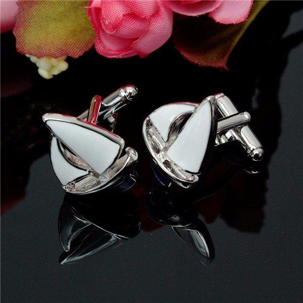Men Silver Sailing Pattern Cufflinks  Retangular Stainless Steel Wedding Gift Attire Accessories