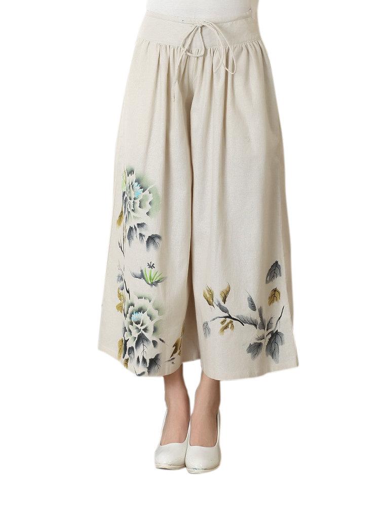 Casual Women Flower Ink Printing Elastic Waist Wide Leg Pants