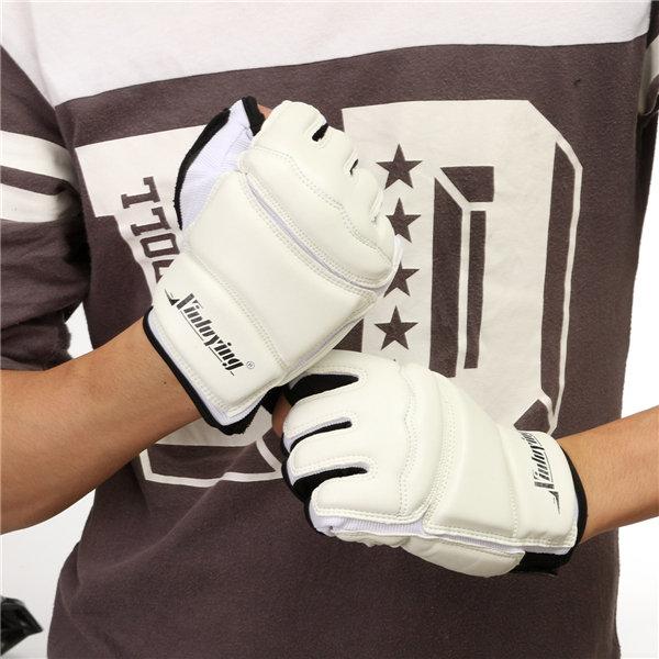 Men Women Kids White Half Finger Gloves Fight Taekwondo Boxing Protector Gloves