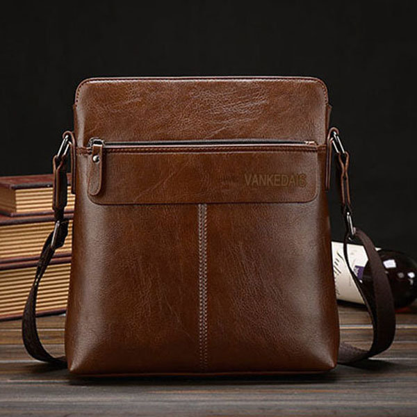 Men Business Casual Microfibric Leather Khaki Brown Shoulder Crossbody Bag Briefcase