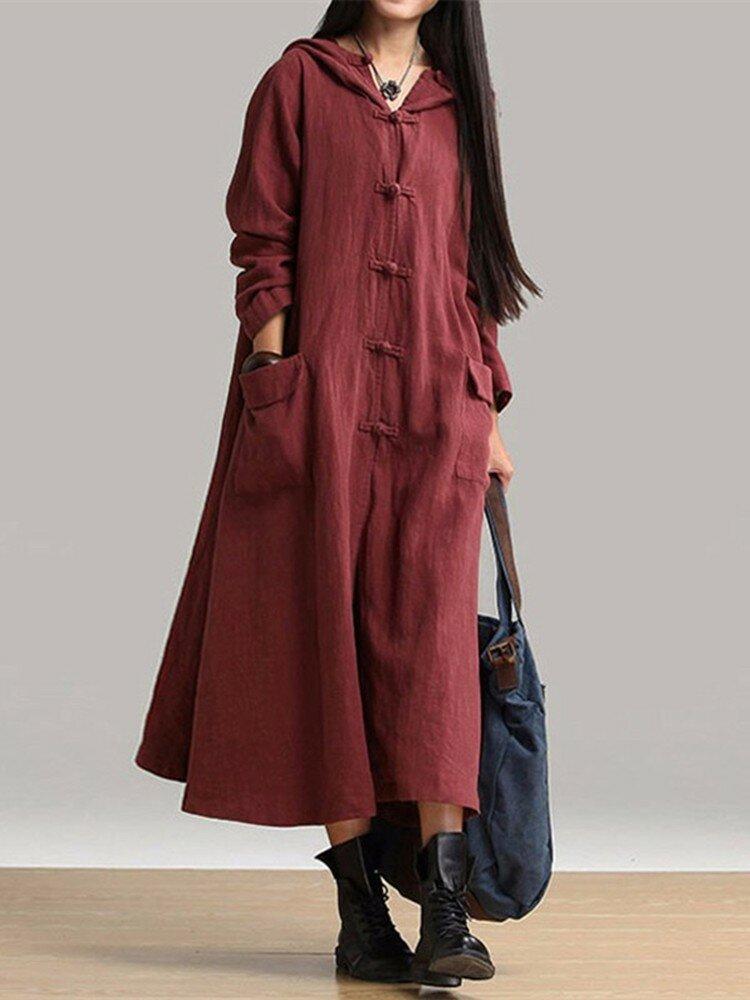 Women Vintage Plate Buckles Long Sleeve Hooded Pockets Long Maxi Dress