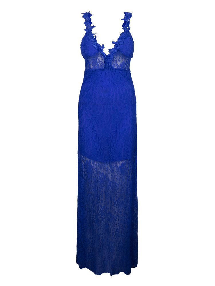 Party Backless Sleeveless Deep V Neck Lace Bodycon Gown Sexy Maxi Dress