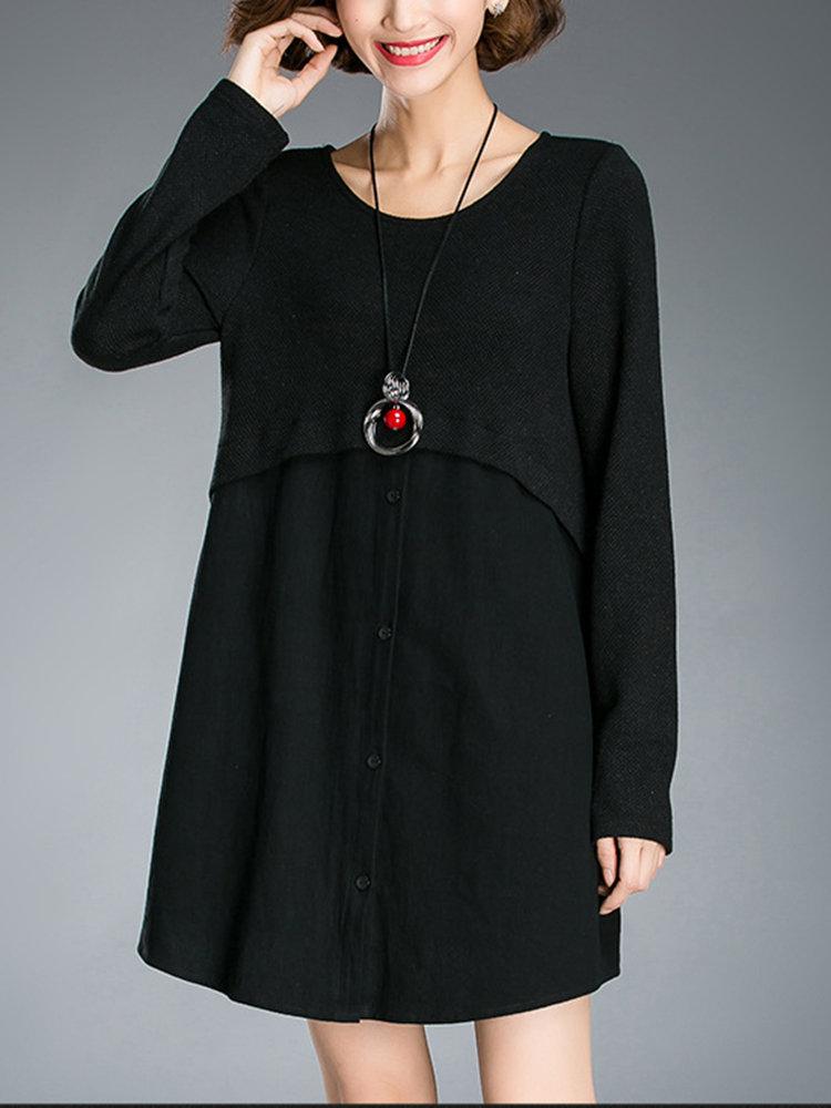 Повседневный Pure Color Лоскутная Кнопка Knit Мини платье для женщин
