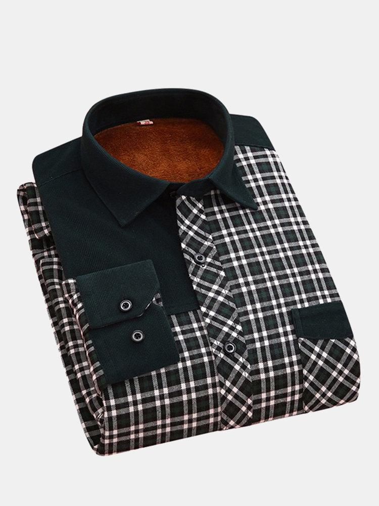 Повседневная мода Бизнес сгущает Внутри Флис Теплые рубашки плед с длинным рукавом платье для мужчин