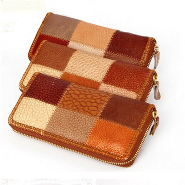 Women Contrast Color Long Manual Wallet Casual Clutches Card Holder Coin Bags Wallet