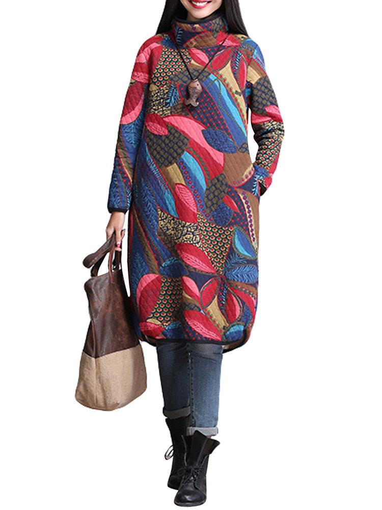 Урожай Печатный Водолазка с длинным рукавом Хлопок Мантия платье для женщин