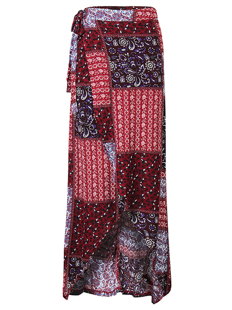 Bohemian Floral Printed Split Irregular Hem Long Skirt For Women