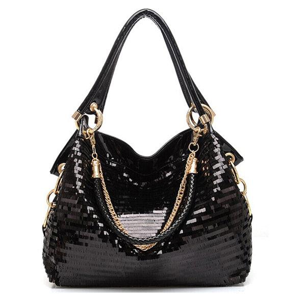 Women Stylish Sequins Patent Leather PU Leather Handbag Shoulder Bags