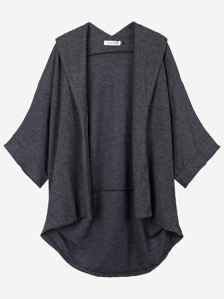 Plus Size Casual Batwing Sleeve Knit Lapel Women Cardigan