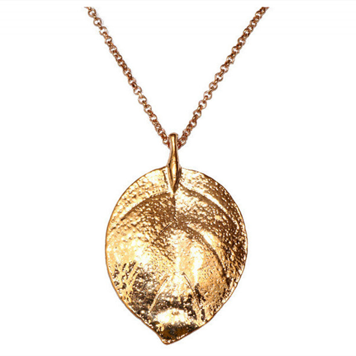 Gold Plated Leaf Pendant Sweater Necklace