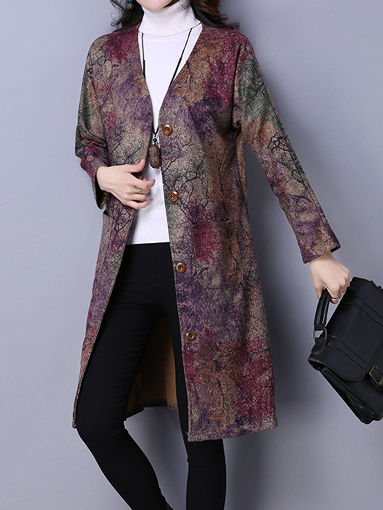 Women Floral Printed V-Neck Long Sleeve Pocket Cotton Cardigan