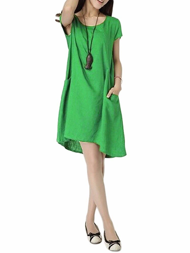 Casual Women Solid Drawstring Pocket Cotton Linen Dress