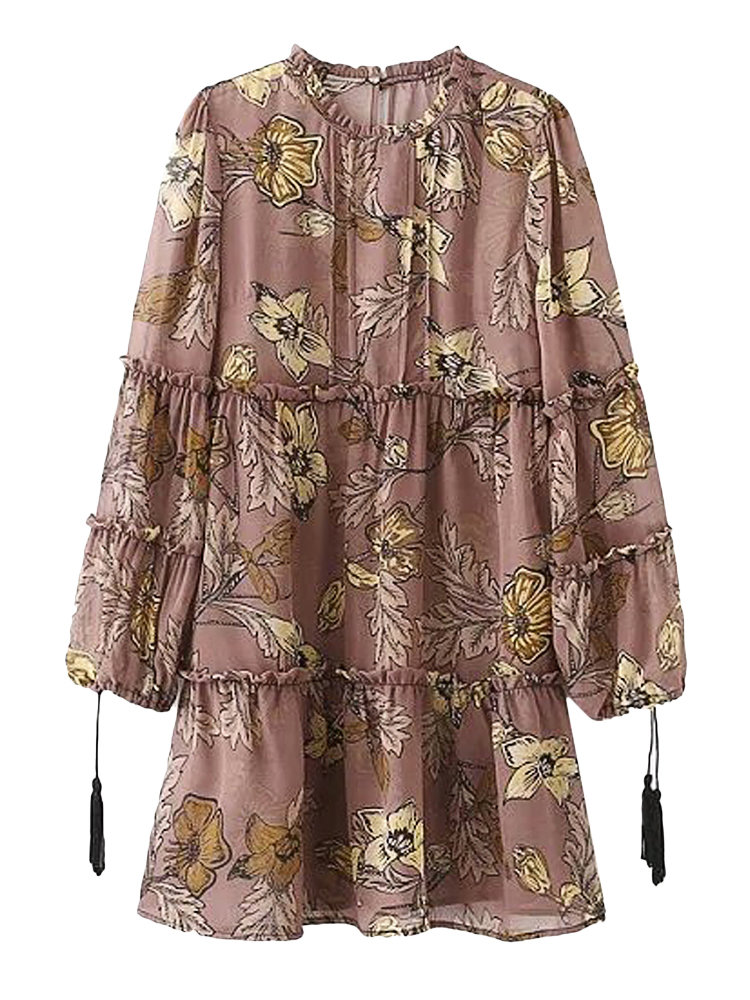 Women Vintage Floral Print Bandage O-neck Long Sleeve Mini Dress