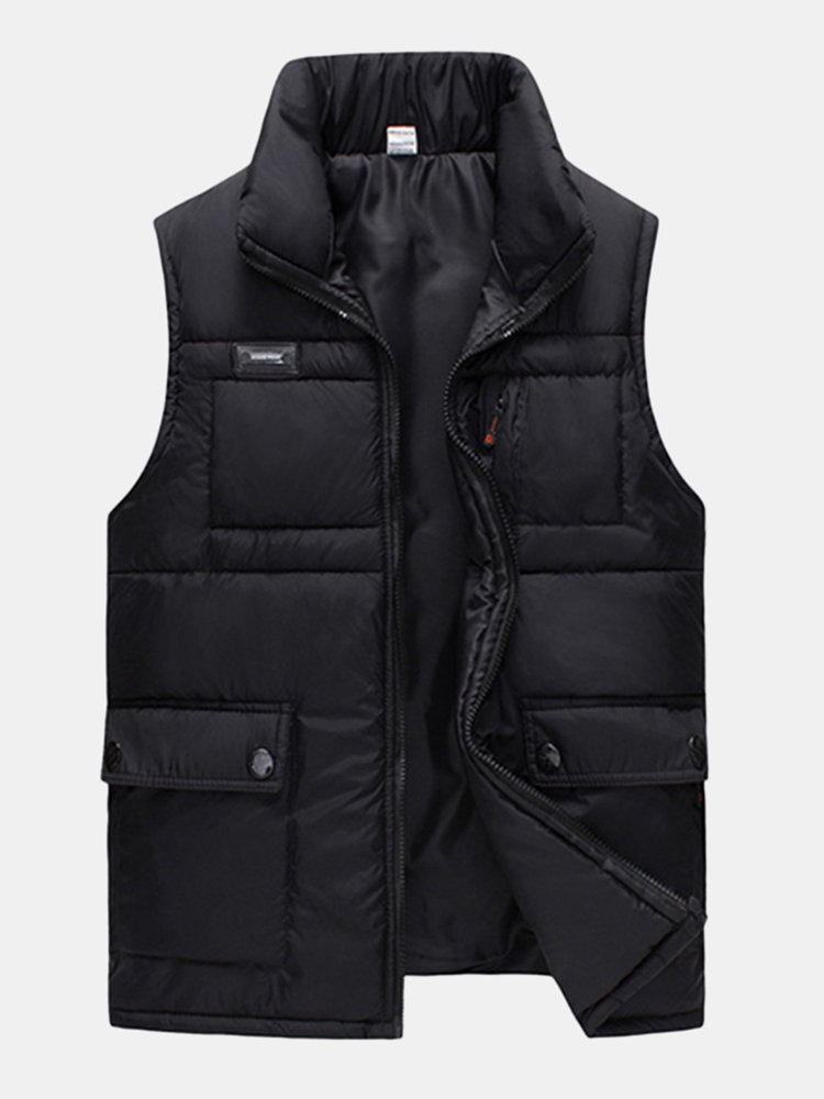 Winter Thicken Outdoor Multi-Pockets Duck Down Stand Collar Waistcoat for Men