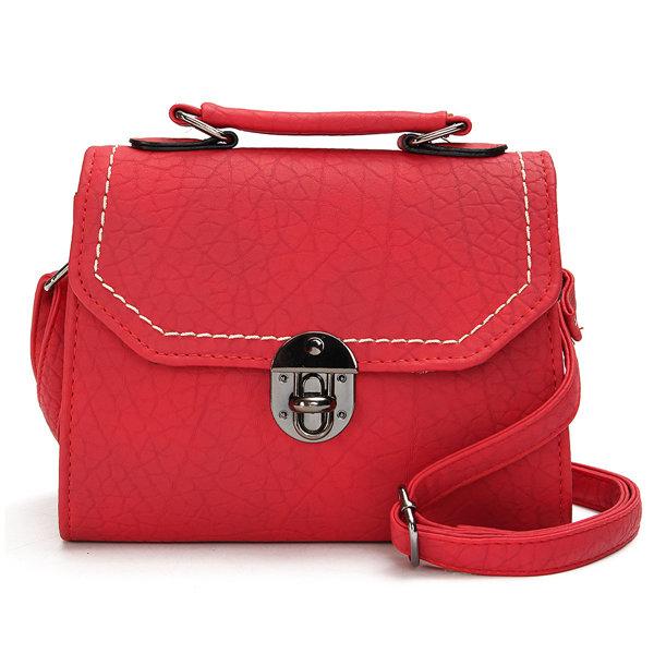 Women Stylish Stone Pattern Spin Lock Handbag Shoulder Bag Crossbody Bag