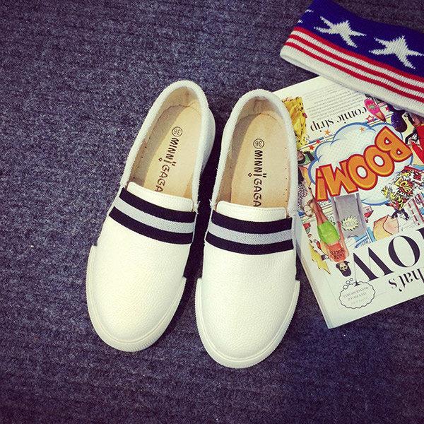 Big Size Stripe Color Match British Style Kintting Slip On Platform Flat Loafers