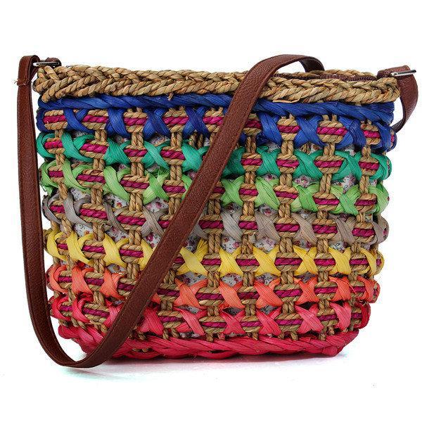 Casual Women Straw Costrast Color Crossbody Bag
