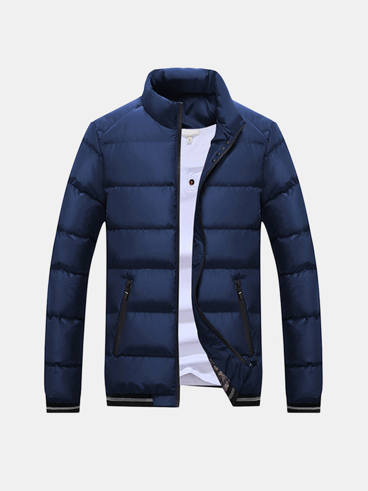 Winter Casual Thicken Warm Windproof Slim Stand Collar Padded Jacket for Men