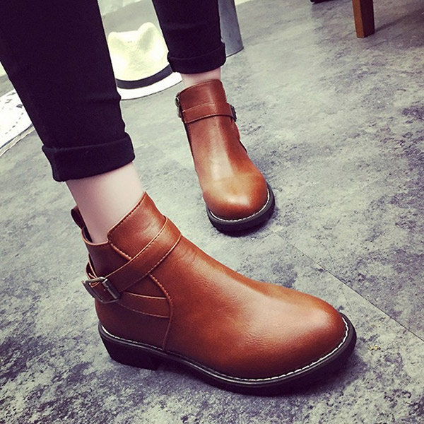 Fashion Zipper Ankle Low Heel Buckle Casual Boots