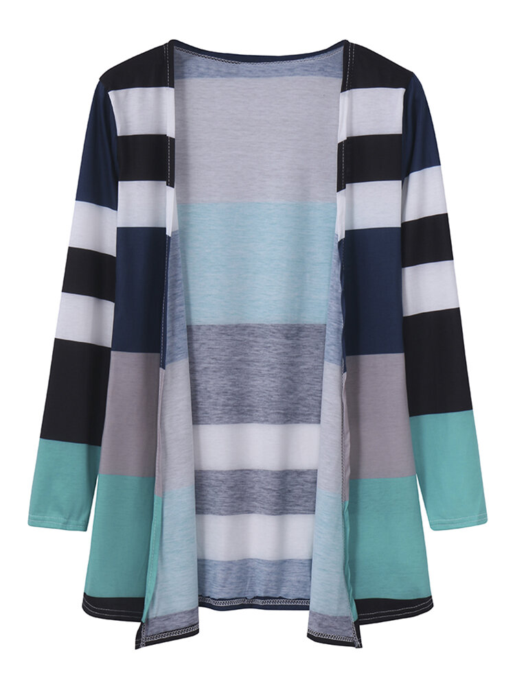 Women Casual Multicolor Stripe Long Sleeve Cardigan